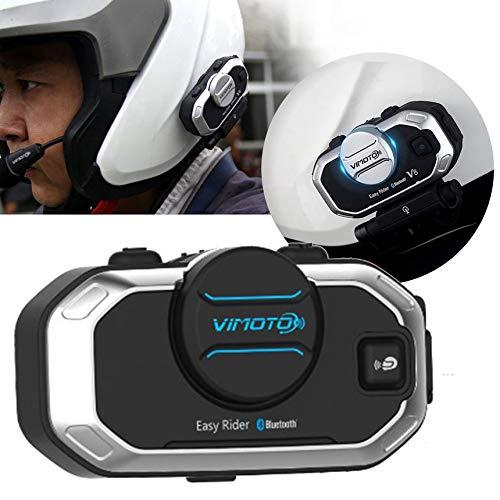 Versione inglese Easy Rider Vimoto V8 Cuffia Casco Moto Cuffie stereo per telefono cellulare e Radio Gps 2 vie - Nero