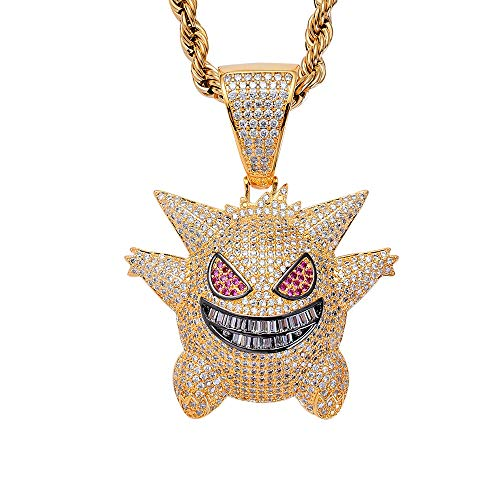 ZSTY Máscara de Vampiro Diamond Shine CZ y Colgante de toros para Hombre Hip-Hop Ice Shine de 18 Quilates de Plata chapada en Oro, Cadena de Cuerda de 60,96 cm, Bicolor,Gold
