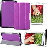 LG tablet cover case, Púrpura doble protección caso ultra delgada y ligera con Grano de Custer cuero funda y soporte para LG G-PAD 8.3 V500 protector carcasa + protectores de pantalla + Stylus pen