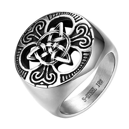 JewelryWe Schmuck Herren-Ring, Edelstahl Keltischer Knoten Triquetra Irischen Dreiecksknoten Gothic Siegelring Rund Ring, Silber, Größe 71