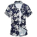 MOGU Herren Neue Mode Hawaiian Kurzarm Bedrucktes Hemd DE XXL(Asiatisch 4XL Weiß
