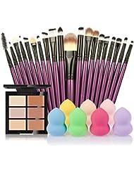 Ularma 6 Couleur Cache-cernes + 20 Pinceau de Maquillage + L'eau Puff Poudre de Puff (B)