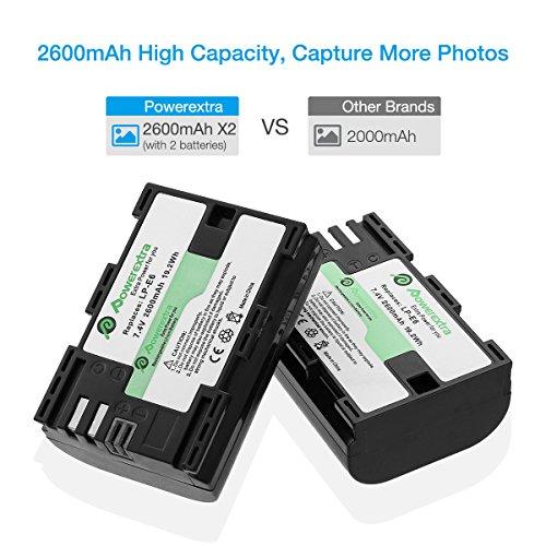 Powerextra Batería Canon LP-E6 y LP-E6N con Cargador Dual Pantalla LCD USB para Canon EOS 80D, 6D, 7D, 70D, 60D, 5D Mark III, 5D Mark II, BG-E14, BG-E11, BG- BG-E7, LC-E6, BG-E6