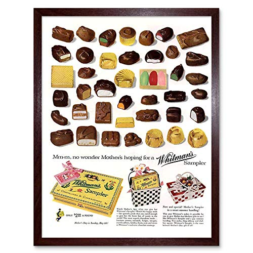 (Wee Blue Coo LTD Advertising 1955 Whitmans Box Chocolates Sweets Candy Art Print Framed Poster Wall Decor Kunstdruck Poster Wand-Dekor-12X16 Zoll)
