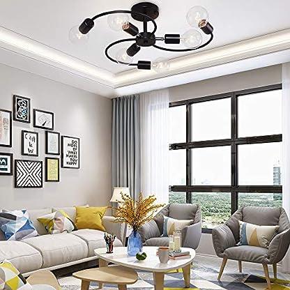 OYIPRO Moderno Plafoniere Nero Lampadari 8 E27 per soggiorno camera da letto (Senza lampadine)