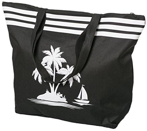 Airee Fairee Strandtasche Damen Schultertasche Shopper Sommer TascheVerschluss Reißverschluss Größe 50 x 40 x 16 cm Palme-Muster (Schwarz) -