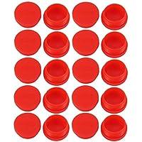 21mm Inner Dmr sourcing map 50Stk PVC Flexible Ende Kappe Bolzen Gewinde Schutz Deckel Rot de