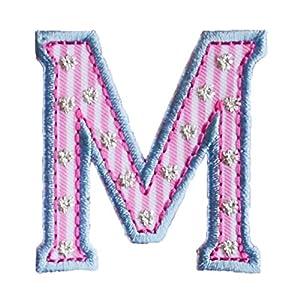 M 5cm Hoch Rosa Blau BuchstabeAufbügler Patch Buchstabe Stoff Zum Aufbügeln  Auf Bürogeschenk Bügelbar Baumwolle Baby