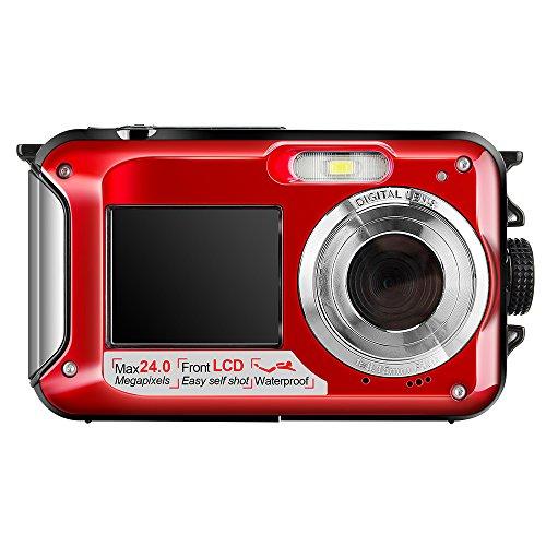 Hoyxel Wasserdichte Digitalkamera, EG04 Mini FHD Videokamera Unterwasser Digital Kamera Weihnachten Neujahr Geschenk (Rein Rot)