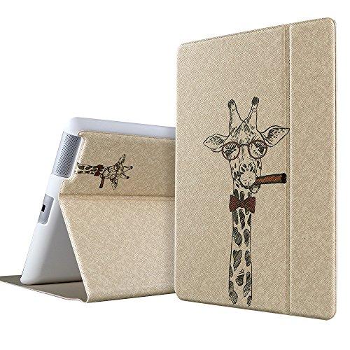 ESR iPad 2 3 4 Hülle, Illustrator Series PU Ledertasche mit Auto aufwachen/Schlaf Funktion Schutzhülle für iPad 2/3/4 (Gigant Giraffe)