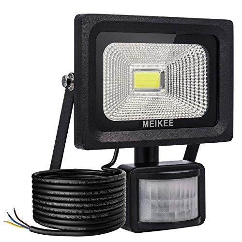 MK 10W Projecteur LED avec Détecteur de Mouvement, 1000lumen Luminaire de Sensibilité, Eclairage Extérieur IP66 résiste à l'eau, Lumière de Sécurité pour le jardin, la cour, le garage, le terrain de sport et le couloir, etc