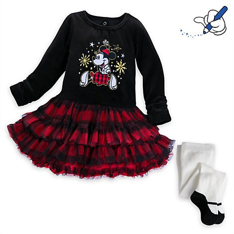 Disney Baby Dress, Minnie Mouse Christmas Baby Party Dress and Tights, Baby Dress Size, 3-6 Months, Official Disney.