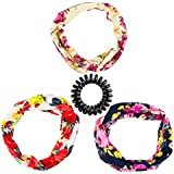 BeautyLuxary3 Pack Cotton Headbands Elastic Boho Printed Floral Head Wrap Headband For Girls And Women 3 Pack...