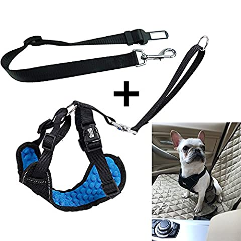 L-Peach 2Pcs Pet Car Seat Belt Safety Harness Vest Cat Dog Seat Belt Harness with Connector Strap for Travel Also Use As Walking Harness S