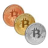 Scarlet Gifts   Münze »Bitcoin«; massiver Stahl mit Edelmetallauflage (z.B. 24-Karat Gold, Silber, Kupfer); Sammlerstück; Crypto Currency zum Anfassen (Set: 1x Gold, 1x Silber, 1x Kupfer)