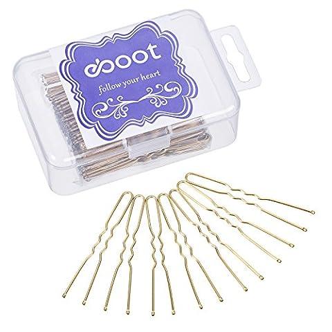 eBoot 100 Pack de Épingles à Cheveux avec Sac de Rangement Et de Rangement, Or