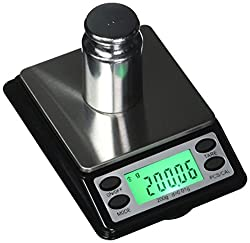 US BALANCE Backlit LCD Display Table Scale with Lock Mode, 2000 x 0.1gm, Black