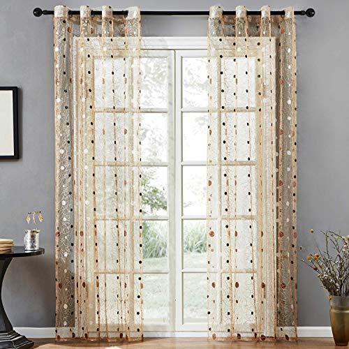 Top Finel cortina transparente de tratamientos para ventana panele bordado de lunares nido de p¨¢jaro 140 cm anchura por 215 cm longitud,marron,de ojales,solo panel