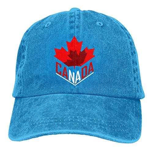Ingpopol Men's Or Women's Adjustable Denim Fabric Baseball Cap Canadian Flag Toronto Leaf Plain Cap (In Party Halloween Toronto)