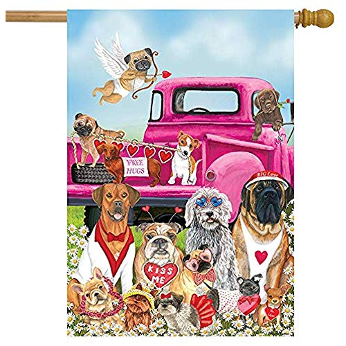 jiaxingdalin Happy Valentine 'S Hunde Haus Flagge Welpen Liebe Humor Größe 12,5' X 18 '