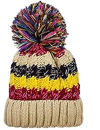 Tuopuda Crochet Invierno Mujeres Gorra Vistoso de Punto Beanie Sombrero de  Lana Tejer Beanie Warm Caps 4b9c4514732