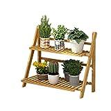 JNYZQ 2-Schicht Faltbare Bambus und Holz Blume Display-Rack, Multifunktions-Retro-Anlage Treppenhaus Garten/Indoor / Outdoor/Balkon Blumenständer (größe : 70x30x56cm)
