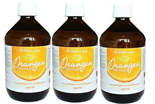 3x Belladecora 500ml Orangenreiniger Konzentrat - Allzweckreiniger mit der Kraft der Orange * wohlriechend * -