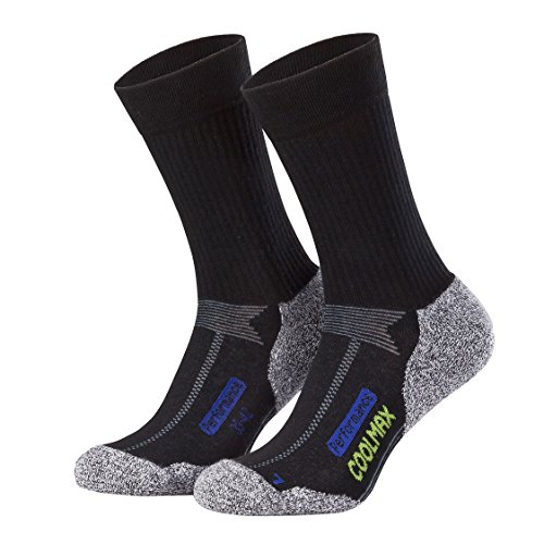 Piarini 2 Paar Coolmax Wandersocken Outdoorsocken Funktionssocken lang schwarz 47-50 (Cool Schuhe)