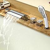 5Einheiten Wasserfall Wasserhahn Badewanne Wasserhahn Rainshower Handbrause Set Bad Dusche Badezimmer Armatur verchromt