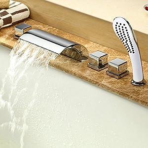 Conjunto para bañera de manguera para ducha de mano y grifo mezclador con efecto cascada y lluvia, cromado, 5 unidades