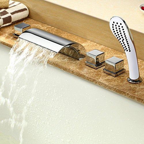 Wasserfall Wasserhahn 5 Einheiten, Badewanne Wasserhahn Rainshower Handbrause Set Bad Dusche Badezimmer Armatur - Badewanne Wasserfall