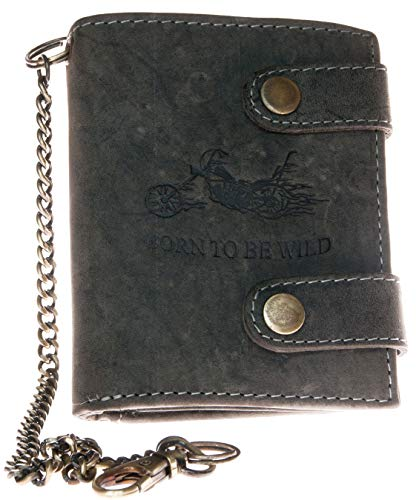 Born to be Wild Billetera gris estilo motero de cuero con cadena de metal con moto