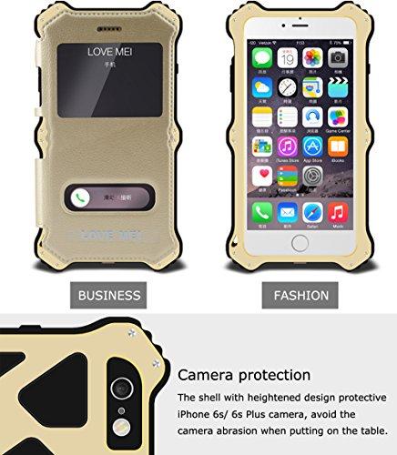 Love Mei [MK2] Wireless Charging Empfänger für Apple iPhone 6S + (iPhone 6S Plus), Qi Standard stoßfest staubdicht Aluminium Metall Hülle mit Luxus Leder Cover und Gorilla Glas * 2Jahre Garantie * weiß
