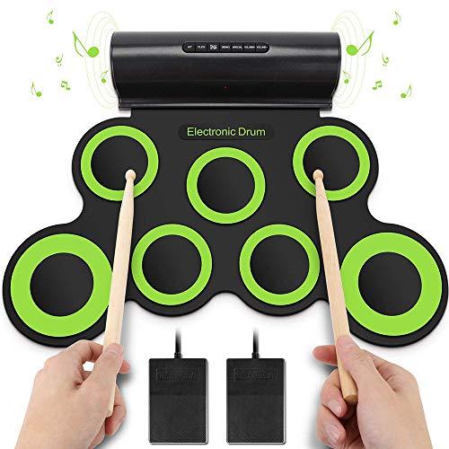WMING Tragbare Roll-Up-Trocke, Electronic Digital Drum 7 Pad Kit Musical Practice Instrument mit 2 Foot Pedals Drum Sticks für Kinder für Kinder für Kinder,Green