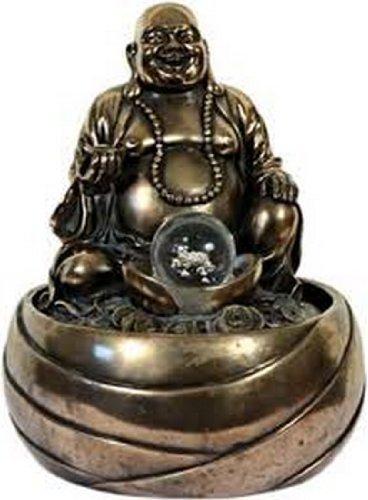 Brunnen Happy Buddha mit LED-Beleuchtung bronziert