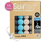 Guirlande lumineuse boules coton LED USB - Chargeur double USB 2A inclus - 3 intensités
