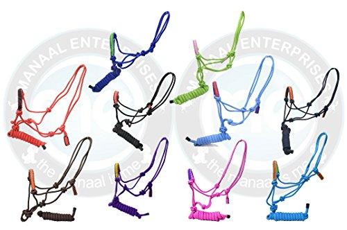 Manaal Enterprises Nasenband, verstellbar, für Pferde mit 6 Passender Leine New Tack!, Grün/Pink, Pony -