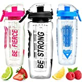 BeMo® Motivational Infuser Water Bottle, Large 1 litre,...