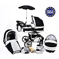 3-in-1 Travel System with Baby Pram, Car Seat, Pushchair & Accessories, Black & White Twing