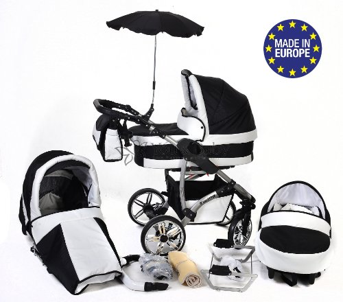 3-in-1 Travel System with Baby Pram, Car Seat, Pushchair & Accessories, Black & White Twing 519qve4n4SL