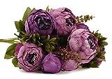 FiveSeasonStuff 1 Pflanzen Blumenstrauß Seide Pfingstrosen Künstlich Blumen, Bouquet Dekoration, ideal für die Hochzeit, Braut, Party, Zuhause, Büro Dekor DIY (Lila)