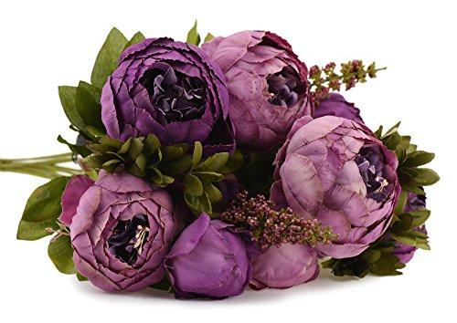 FiveSeasonStuff 1 Pflanzen Blumenstrauß Seide Pfingstrosen Künstlich Blumen, Bouquet Dekoration, ideal für die Hochzeit, Braut, Party, Zuhause, Büro Dekor DIY (Lila) (Billige Bouquet Künstliche Blume)