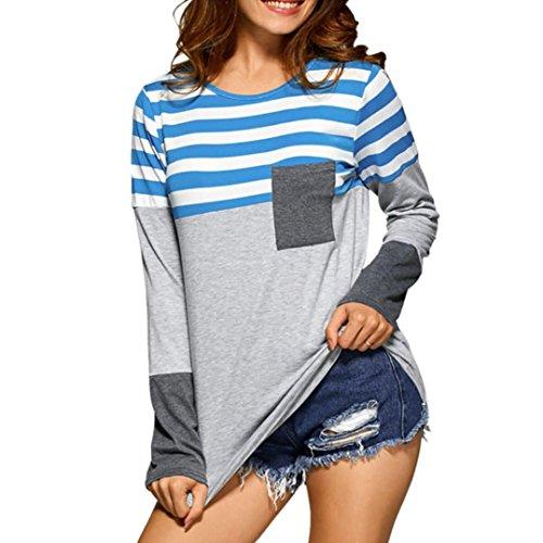 MORCHAN Femmes Plus Size lâche Pull à Manches Longues Rayure Chemise Tops Blouse(FR-42/CN-XL,Bleu)