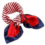 Mit Halstuch/Schal, quadratisch, Cool, seidiges Gefühl, Design Red White Blue-Bandana Damen Handtasche Mehrfachbenutzung Stewardess-Kopf
