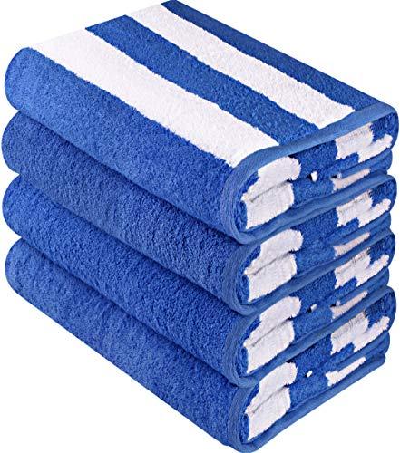 Utopia Towels - 4er Pack XXL Strandtuch Baumwolle Cabana Stripe - 76 x 152 cm, Blau