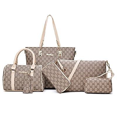 Pelisy PU Large Handbag Women Ladies Shoulder Bag 6 Set Of Bag