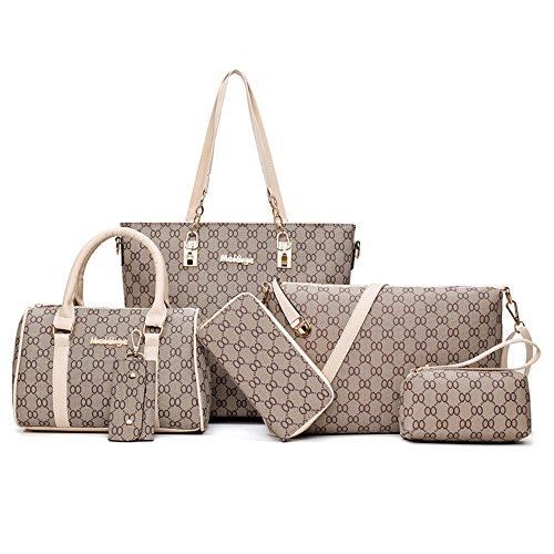 Set PU Borse Donna Pelle 6 pezzi borsetta pelle tracolla elegante vintage retrò casual viaggio Borse da Spalla portafoglio Beige