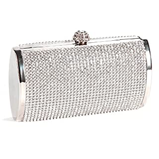 Silver Crystal Diamante Effect Evening Clutch Wedding Purse Party Prom Bag Box