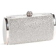Anladia - Bolso de Fiesta Boda Salir para Mujer de Brillante Con Diamantes Bolso de Mano Color Plateado