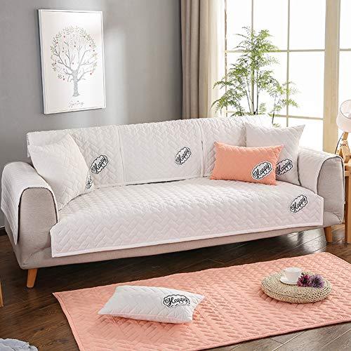 LILILILI Multi-Size Weichen rechteckige Winter Gesteppte möbel beschützer und slipcover für Haustiere, Kinder, Hunde - große & Standard Sofa, Loveseat, Sessel und Stuhl-Weiß 90x180cm(35x71inch)